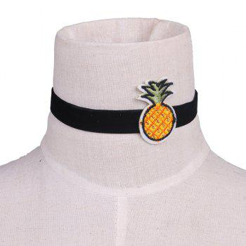Fruit Pineapple Embroidery Velvet Choker Necklace