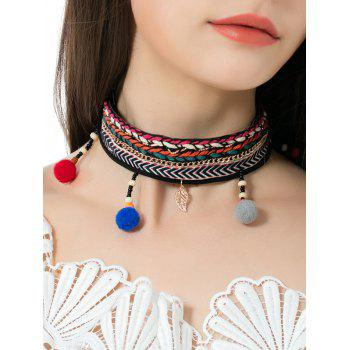 Ethnic Braid Embroidery Ball Leaf Choker Necklace