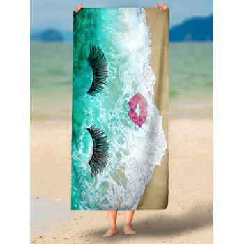Marin Tide Cils Red Lip Pattern Beach Throw - Vert M