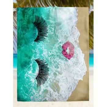 Sea Tide Eyelashes Red Lip Pattern Beach Throw - GREEN M