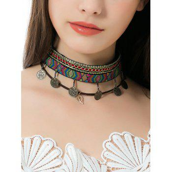 Ethnic Geometric Embroidery Leaf Coins Choker Necklace