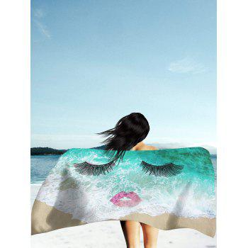 Sea Tide Eyelashes Red Lip Pattern Beach Throw - GREEN GREEN