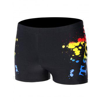 Splatter Paint Lace Up Swimming Trunks