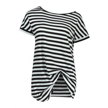 Batwing Sleeve Striped Tunic Tee