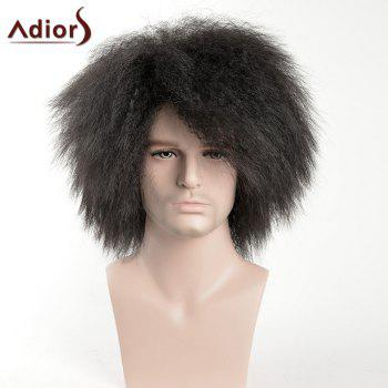 Adiors Afro Short Shaggy Side Bang Men Synthetic Wig - BLACK BLACK