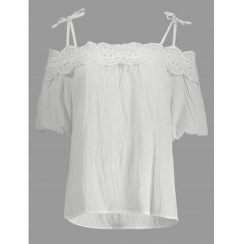 Spaghetti Strap Lace Crochet Chiffon Top - WHITE ONE SIZE(FIT SIZE XS TO M)