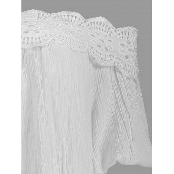 Spaghetti Strap Lace Crochet Chiffon Top - ONE SIZE(FIT SIZE XS TO M) ONE SIZE(FIT SIZE XS TO M)