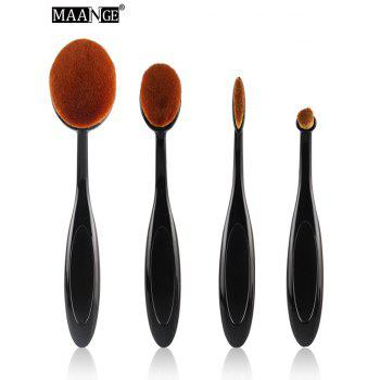 MAANGE 4 Pcs Oval Makeup Brushes Set - BLACK BLACK