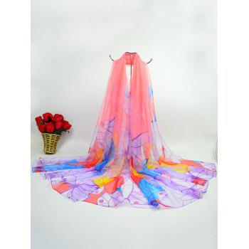 Ice Silk Fabric Butterfly Printed Gossamer Scarf