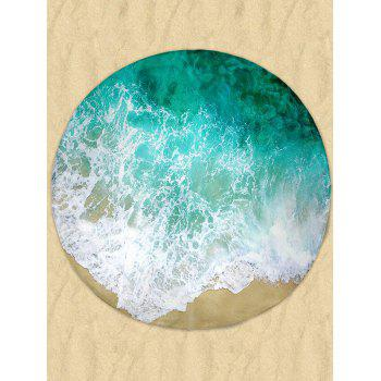 Round Sea Wave Print Milk Silk Fabric Beach Throw - GREEN GREEN