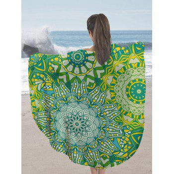 Round Mandala Print Milk Silk Fabric Beach Throw