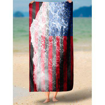 Sea Tide and Patriotic Flag Print Rectangle Beach Throw - multicolorCOLOR multicolorCOLOR