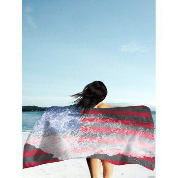 Sea Tide and Patriotic Flag Print Rectangle Beach Throw