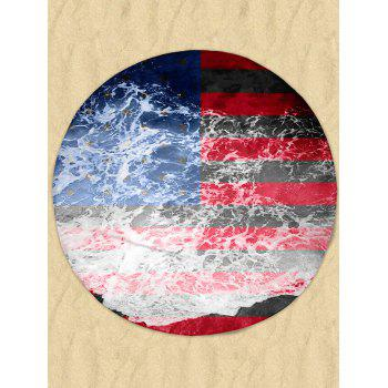 Sea Tide Patriotic Flag Milk Silk Fabric Round Beach Throw