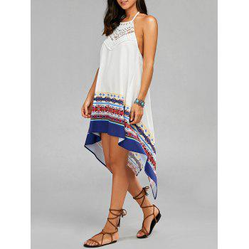 High Low Backless Halter Handkerchief Dress
