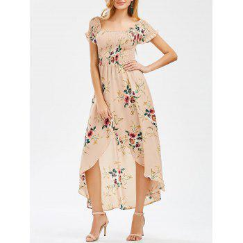 Crinkly Floral Print High Low Dress