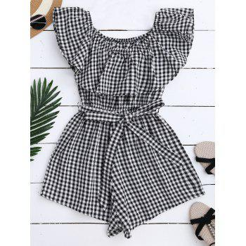 Ruffle Off Shoulder Plaid Romper With Belt