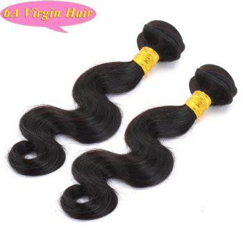 Trendy Body Wave Natural Black 6A Women's Chinese Virgin Hair Weave 2 Pcs/Lot - BLACK BLACK