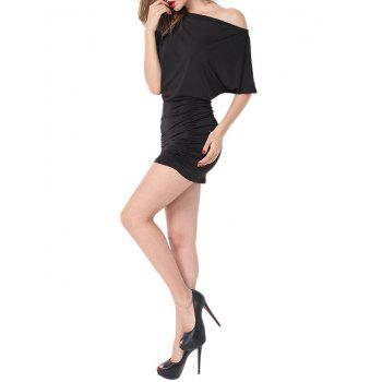 Batwing Sleeve Ruched Intimate Dress - BLACK BLACK