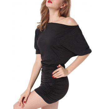 Batwing Sleeve Ruched Intimate Dress - M M
