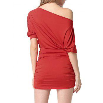 Batwing Sleeve Ruched Intimate Dress - RED RED