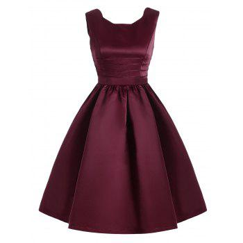 Vintage Sweetheart Neck Fit and Flare Prom Dress - WINE RED 2XL