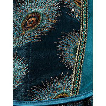 Lace-Up Feather Sequined Embroidered Corset - PEACOCK BLUE 2XL