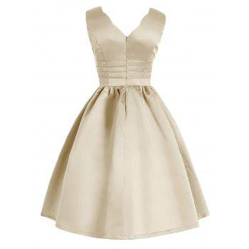 Vintage Sweetheart Neck Fit and Flare Prom Dress - APRICOT APRICOT