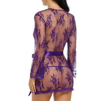 See Thru Lace Wrap Dress With T-Back - PURPLE L