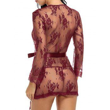 See Thru Lace Wrap Dress With T-Back - WINE RED M