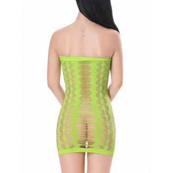 Sleeveless Strapless Ripped Sheer Bodycon Dress - NEON GREEN ONE SIZE