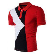Color Block Panel Design Short Sleeve Polo T-Shirt
