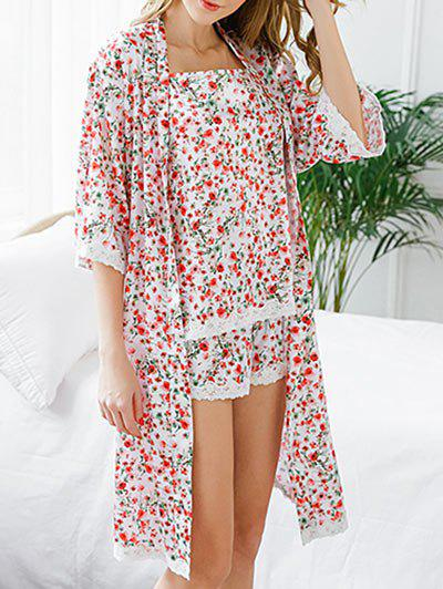 Floral Longline Lace Trim Robe Set - FLORAL ONE SIZE