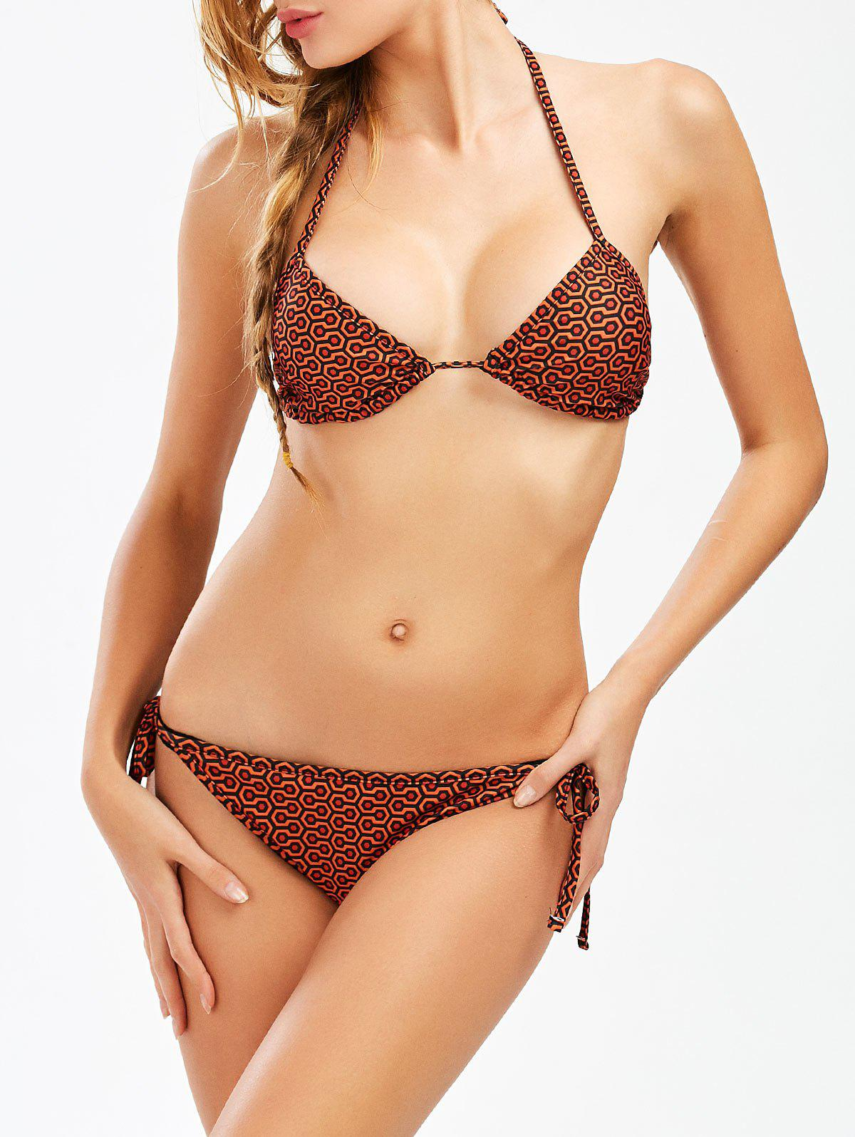 Halter Geometric String Bikini Set