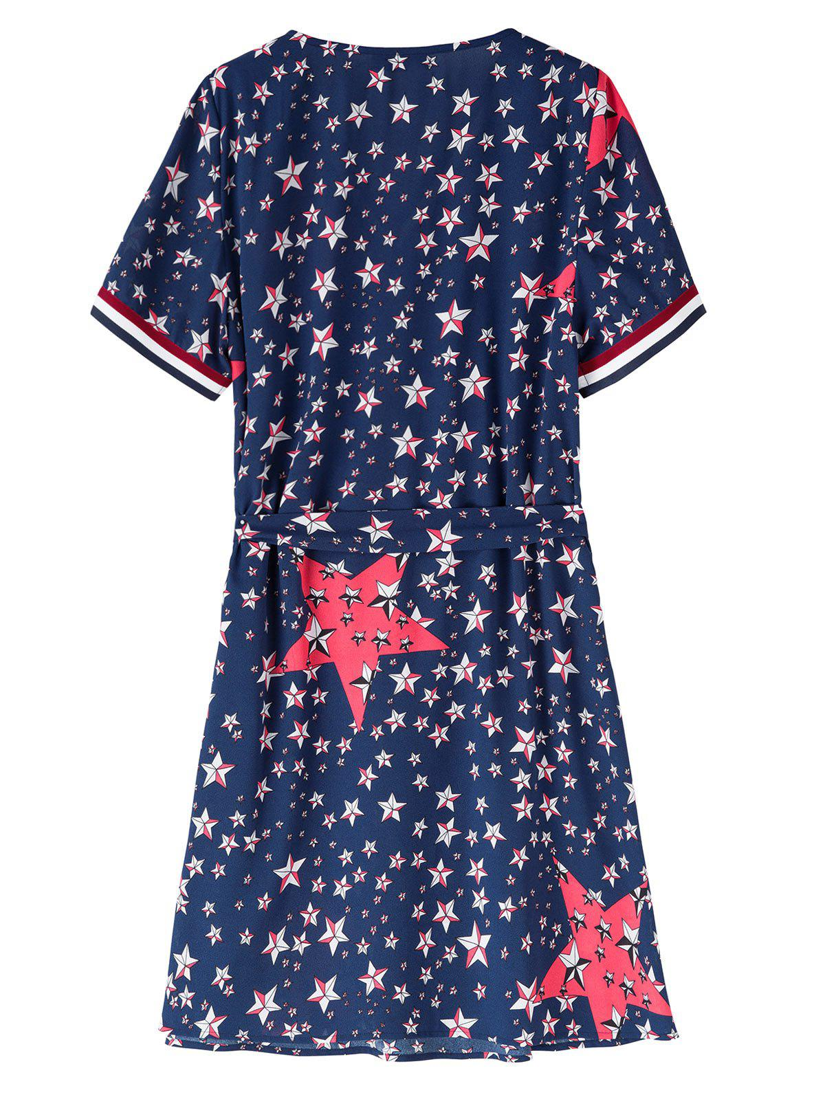 Belted Plus Size Star Flag Print Dress - Bleu Violet 5XL