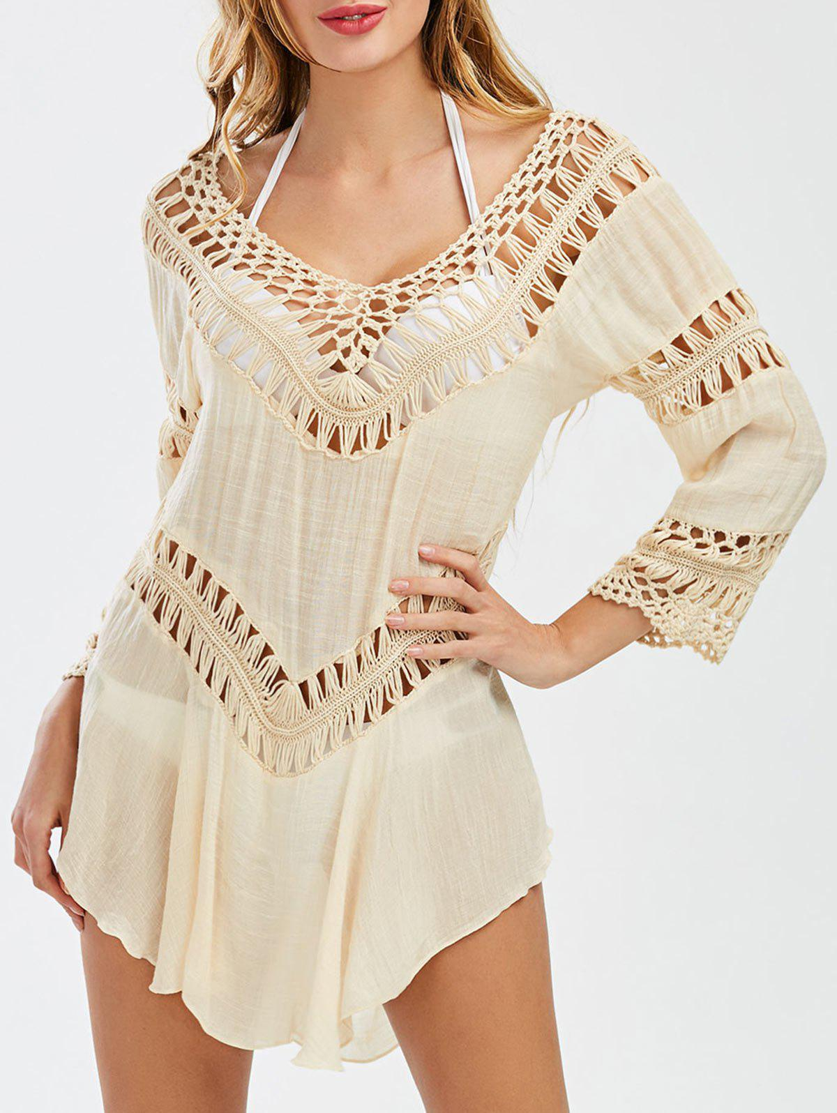 Semi-Sheer Crochet Dress Cover Up - LIGHT KHAKI ONE SIZE