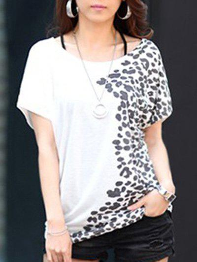 Fashion Style Women's Summer T-Shirt With Scoop Neck Short Sleeve Loose Fit Printed Design - WHITE ONE SIZE