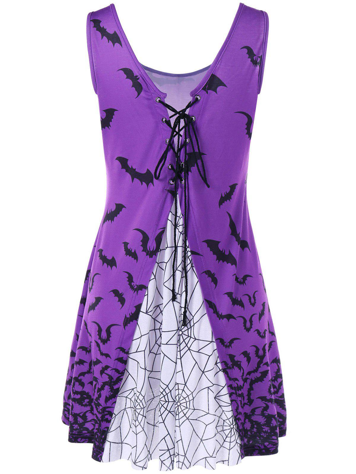 Lace Up Bat Print Tank Dress - Pourpre L