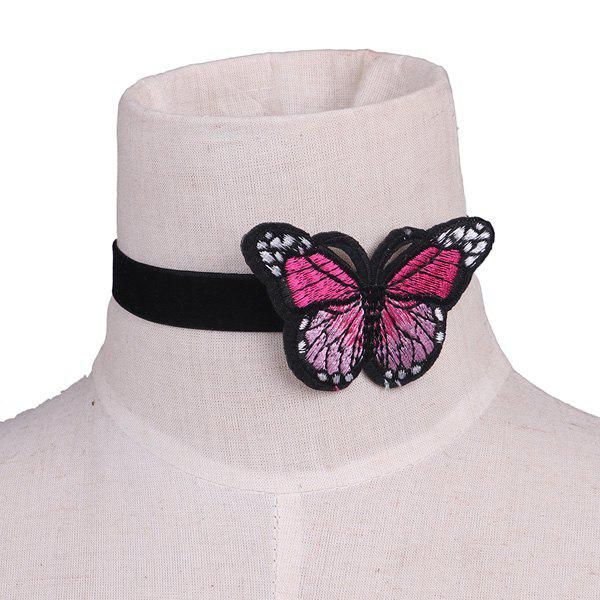 Butterfly Embellished Embroidery Velour Choker Necklace - BLACK