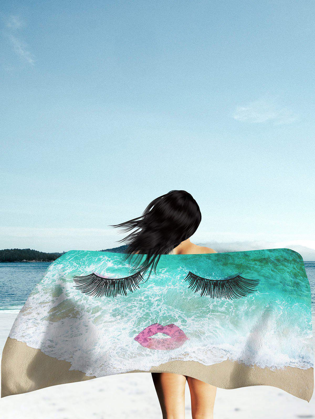 Sea Tide Eyelashes Red Lip Pattern Beach Throw - GREEN XL