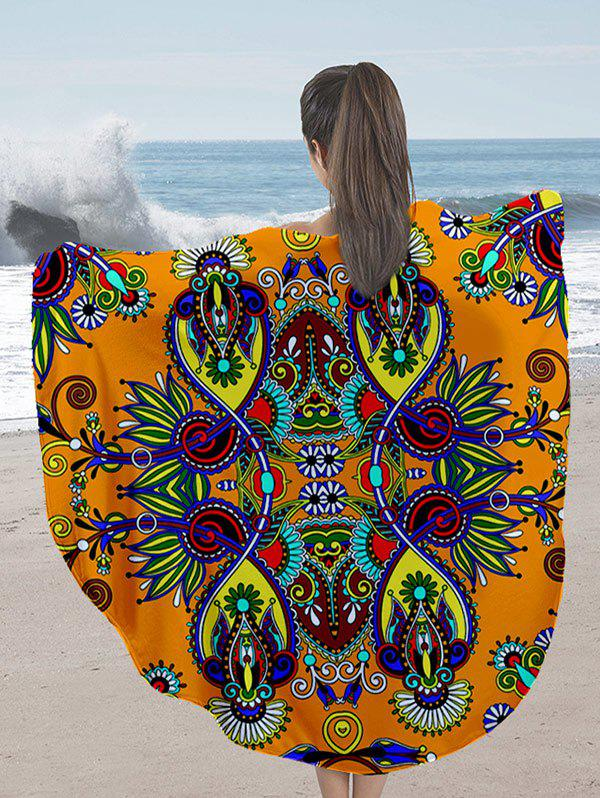 Milk Silk Fabric Flower Print Round Beach Throw - ORANGE