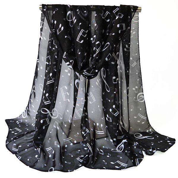Chiffon Lightsome Musical Notes Printed Scarf - BLACK