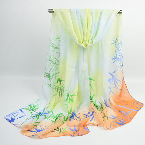 Chinoiserie Bamboo Printed Ombre Shawl Scarf - LIMEADE