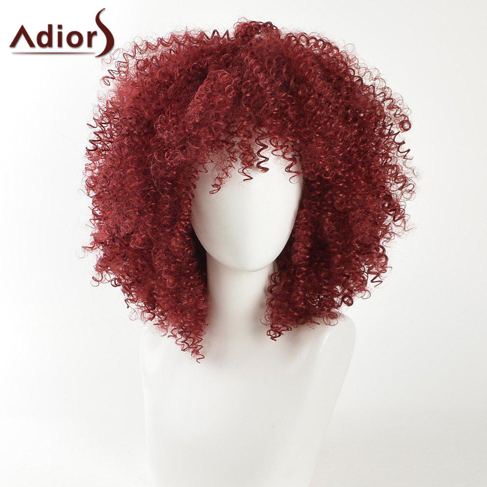 Adiors Fashion Kinky Curly Medium Shaggy Afro Synthetic Hair - WINE RED