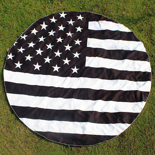 Round US Flag Printing Beach Throw - WHITE/BLACK