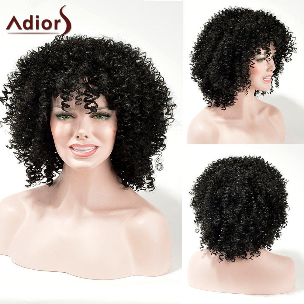 2018 Adiors Fluffy Medium Kinky Curly Weave Synthetic Hair Black In
