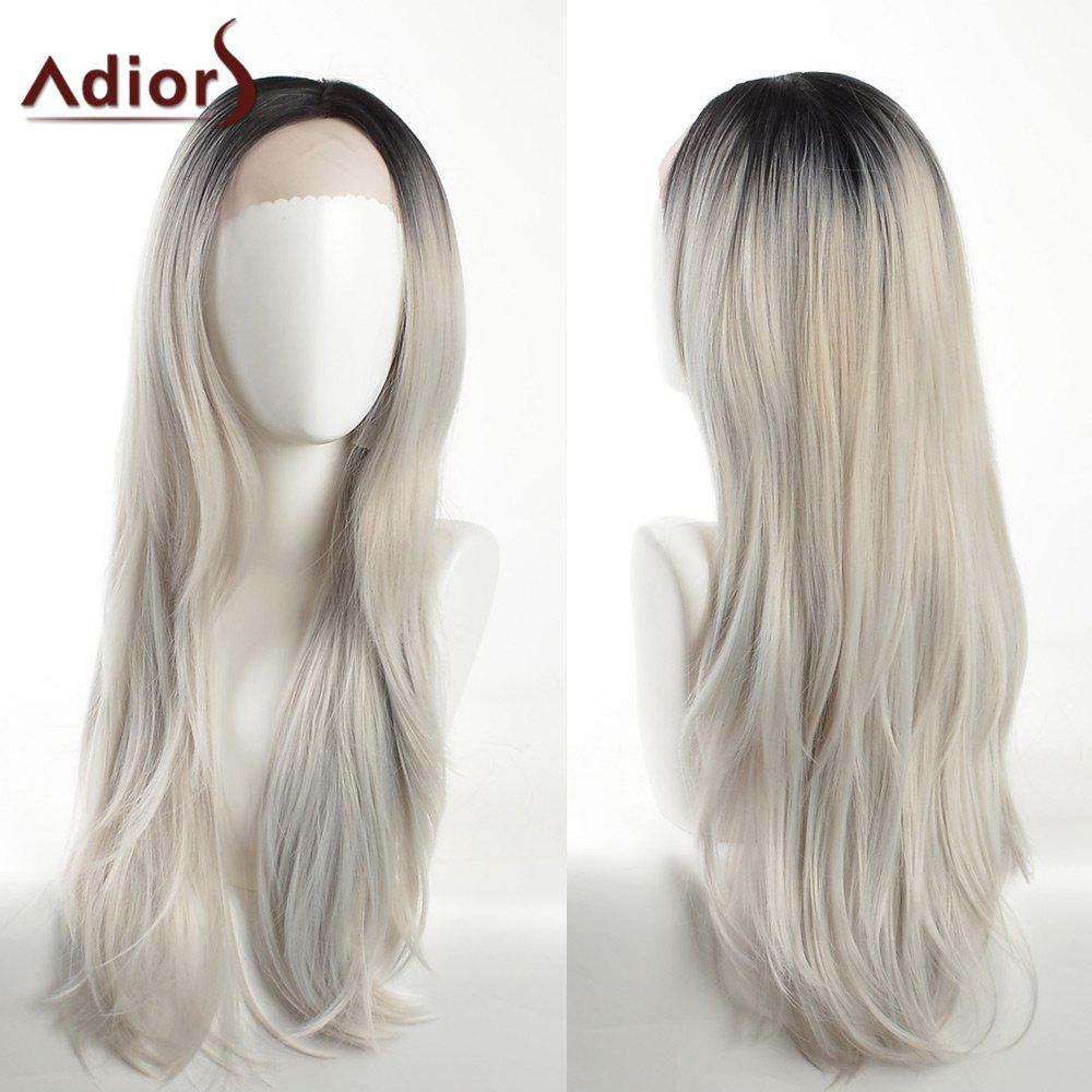 Adiors Long Slightly Curled Dark Root Side Part Lace Front Synthetic Hair - BLACK/GREY