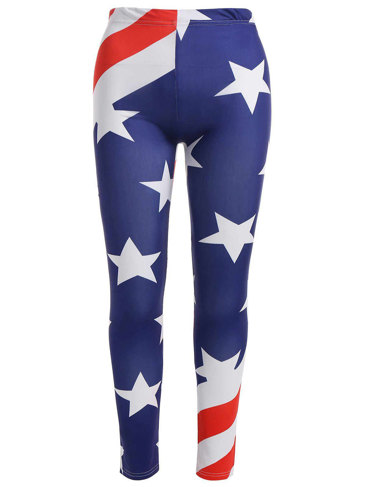 Elastic Waist American Flag Print Plus Size Leggings - multicolor 3XL