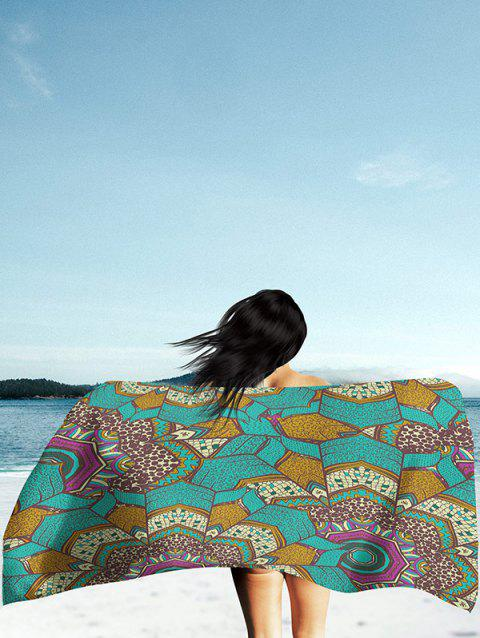 Couverture de Plage en Soie Rectangle Imprimé Mandala - Vert 2XL