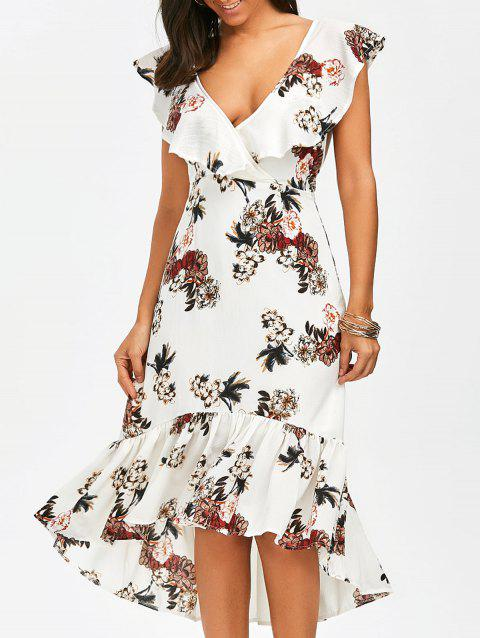 Plunging Floral Ruffle Backless Tea Length Dress - WHITE M